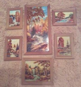 Набор картин из янтаря.