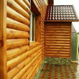 Блок-хаус, коричневый, металосайдинг