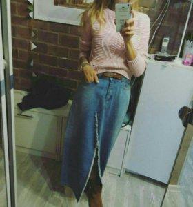 Юбка джинсовая в пол