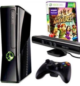 Xbox 360 slim + Kinect + 4 игры