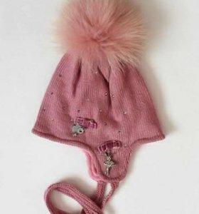 34 Розовая шапка для девочки
