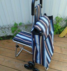 Сумка тележка на 6 колесах со стульчиком в полоску