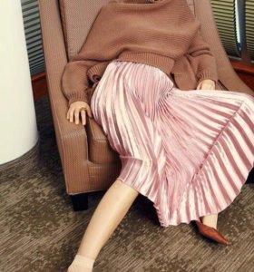 НОВАЯ плиссированная юбка пудровый , Так же туфли