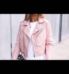 Розовая кожанка