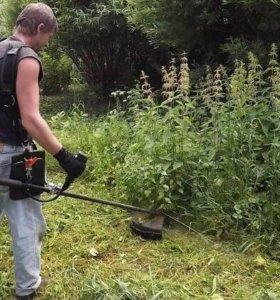 Покос травы уборка расчистка участка Куровское