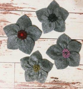 Фетровые цветы для волос
