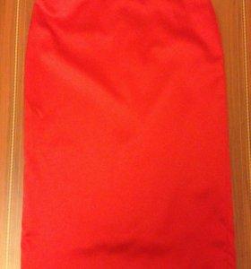 Юбка атласная красная Aspesi