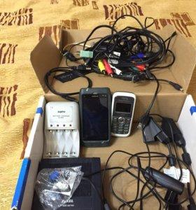 Провода,телефон (серый сони),старый модем и другое