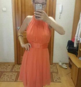 Платье караллового цвета, 42 размер