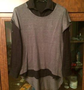 Рубашка+безрукавка.Стильная двойка.Zara
