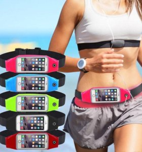 Яркий спортивный чехол для смартфона на пояс.