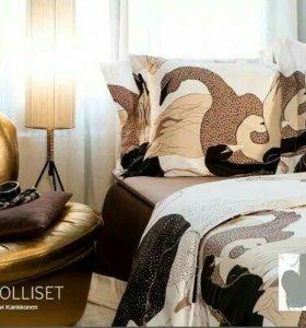 Комплект постельного белья, серый/розовый, сатин