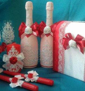 Свадебные аксессуары, бутылки, фужеры, свечи, очаг