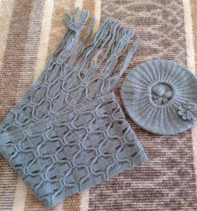 Новый вязаный комплект межсезон - берет и шарфик