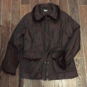Женский пуховик с мехом, куртка с мехом 48 размер