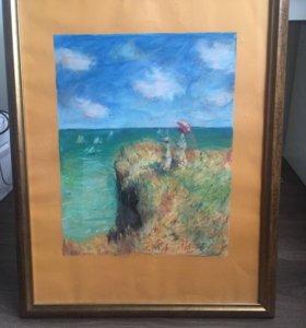 Картина пастелью свободная копия Ренуара
