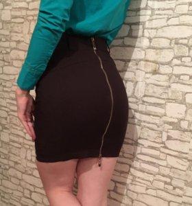 Темно-коричневая юбка