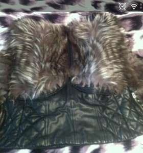 Натуральная кожаная жилетка с мехом (куртка)