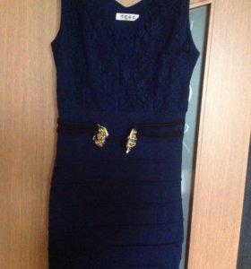 Синее красивое платье 46-48 р