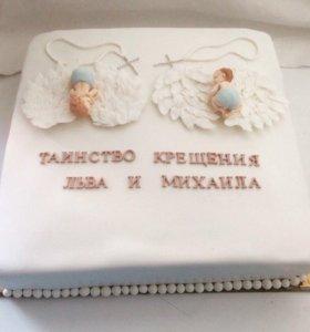 Торт на крещение двойни