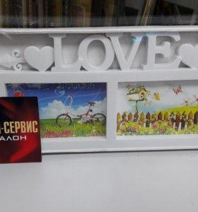Фотоколлаж рамка LOVE