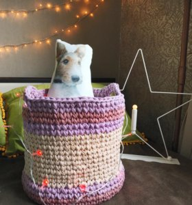 Интерьерные корзины, подушки из трикотажной пряжи