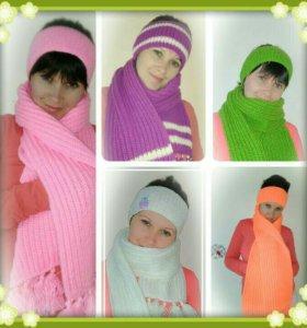 Вязаный комплект шарф+повязка