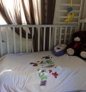 Детская кроватка poli с матрацем