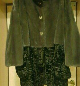 Шуба новая )норка+каракульча )карман съёмный
