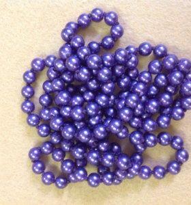 Бусы фиолетовые перламутровые, 90 см