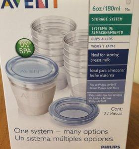 Молокоотсос Avent и контейнеры для хранения молока