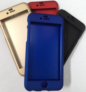 Чехол iPhone 6/6S пластик +стекло защита 360°