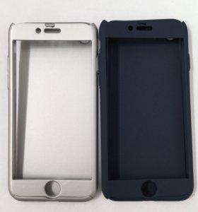 Чехол iPhone 7 пластик+стекло защита 360°
