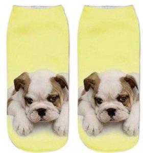 Носки с 3D Принтом бульдок ✨