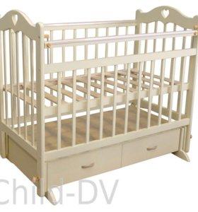 Детская кроватка маятник+новый матрасик