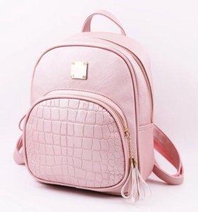 Рюкзачок розовый кожаный