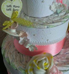 Подгузники памперсы торт из памперсов
