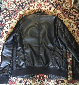 Мужская куртка кожаная ZARA, утеплённая