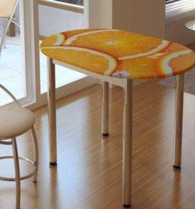 """Стол кухонный с фотопечатью """"Апельсин"""""""