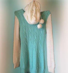 Платье-туника + шарф хомут