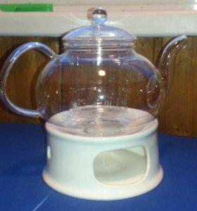 Стеклянный чайник с подогревом
