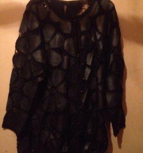 Кожаный костюм. Пиджак +юбка.