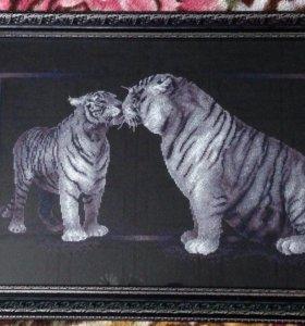 """Вышитая картина""""Тигриная любовь"""""""