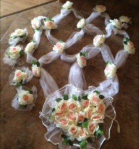 Свадебные украшения на машину и фатин