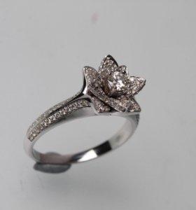 Новое! 145 бриллиантов, 585 проба, золотое кольцо