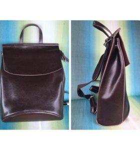 Кожаный сумка-рюкзак