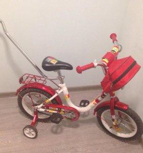 Велосипед 2-4 колесный, со съёмной ручкой, рюкзак