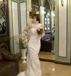 Свадебное платье русалка айвори прокат