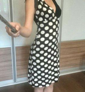 Платье винтажное, в горошек, пин-ап