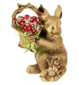 Кролик с хрустальными цветами